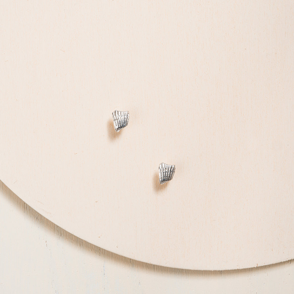 Small Seashell Silver Stud Earrings by Camille Ouellette