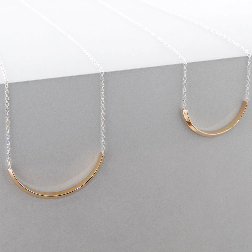 Line Arc Necklace – Silver or Brass