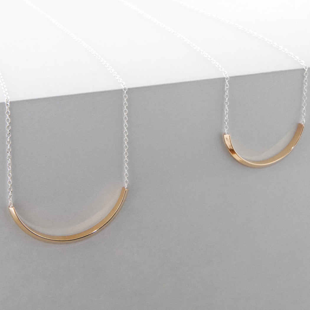 Long Line Arc Necklace – Brass or Silver