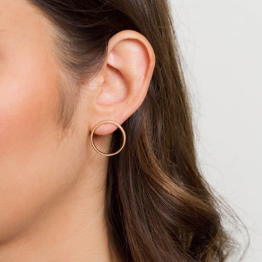 Flat Hoop Earrings – Brass or Silver – Thin