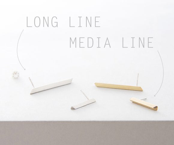 Media Line Earrings – Brass or Silver