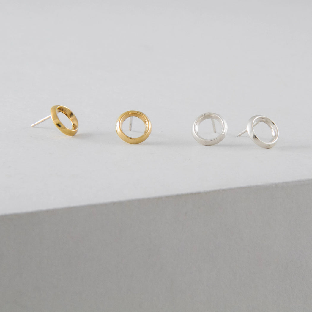 Mini Halo Earrings – Brass or Silver