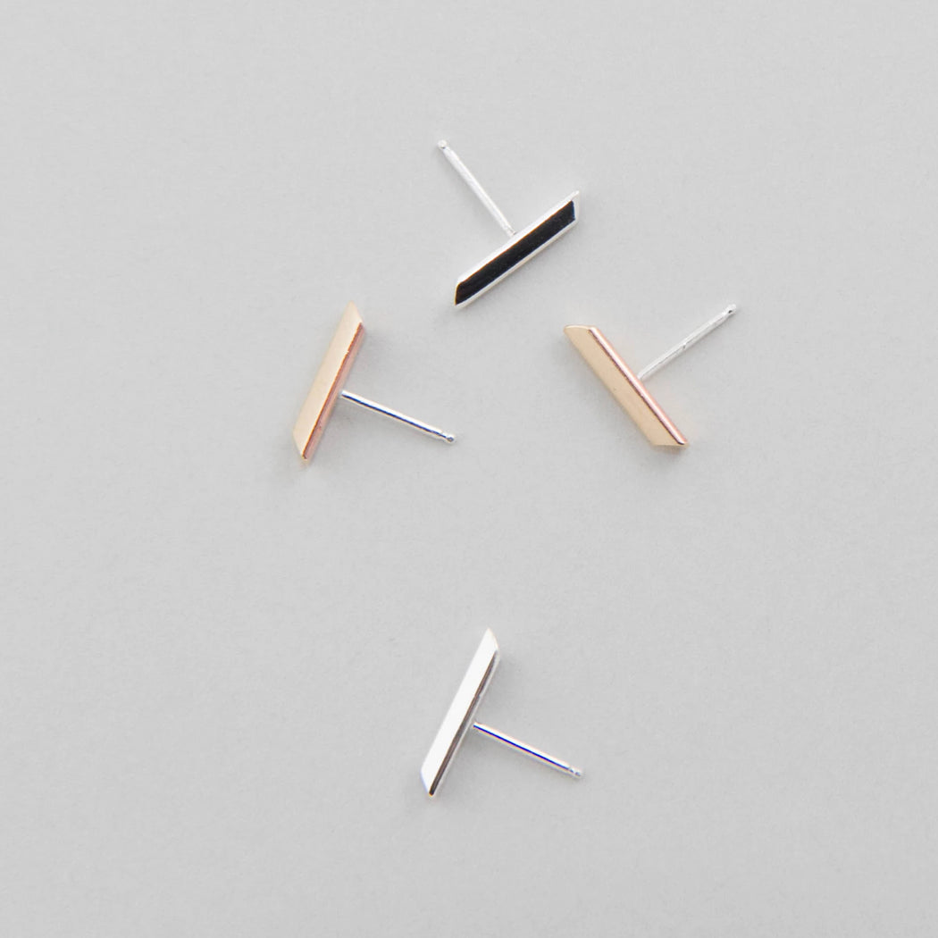 Line Stud Earrings – Brass or Silver