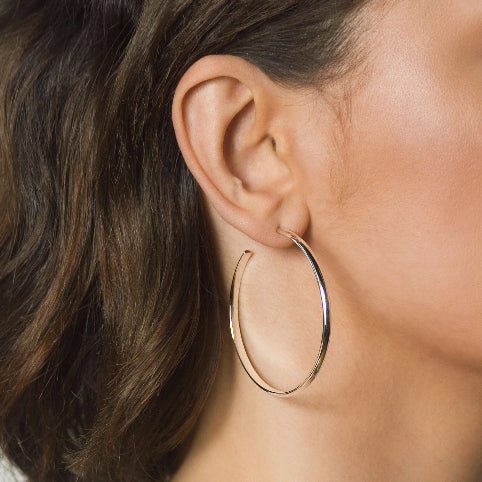 Chunky Hoops Earrings –  Silver – Large