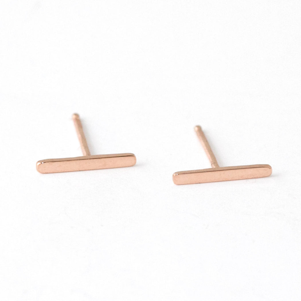 Line Stud Earrings – 14k Rose Gold