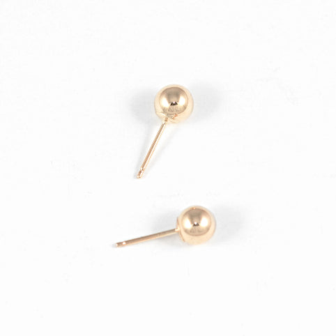 Ball Stud Earrings – 14k Yellow Gold – Medium