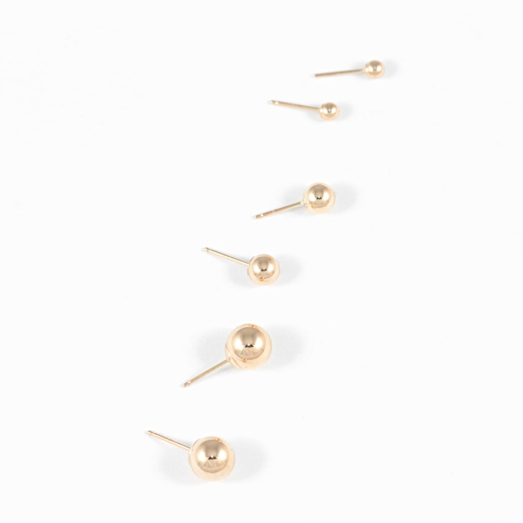 Ball Stud Earrings – 14k Yellow Gold – Large