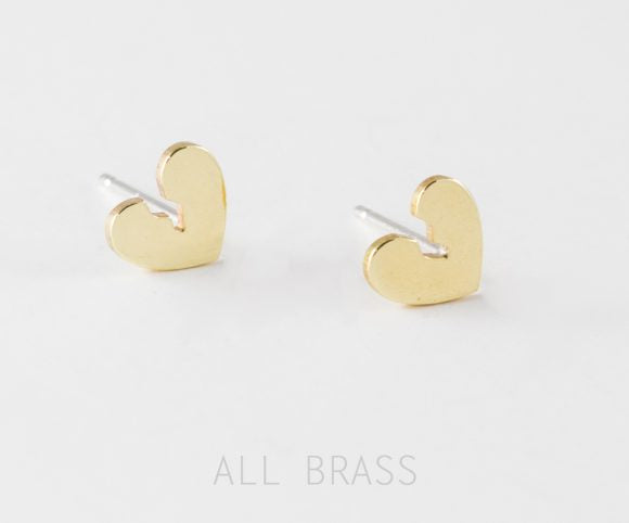 Broken Heart Stud Earrings – Silver or Brass