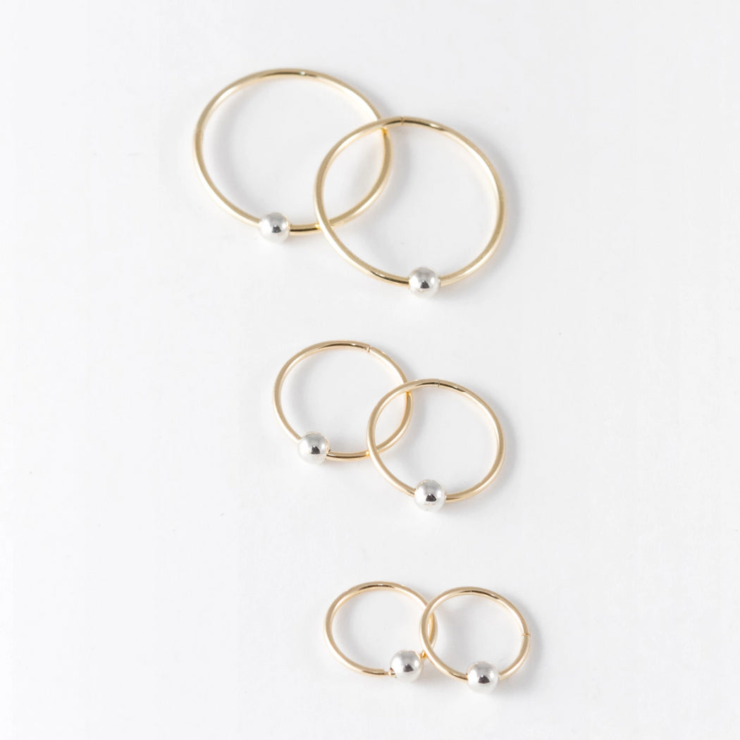 12mm Sleepers Hoops Earrings – 10k Yellow Gold – Small