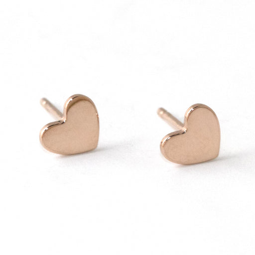 Heart Stud Earrings – 14k Rose Gold