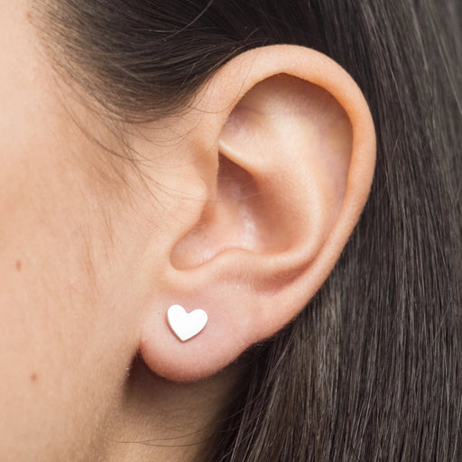 Heart Stud Earrings – Silver or Brass