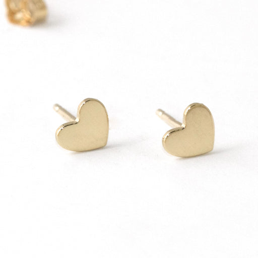 Heart Stud Earrings – 14k Yellow Gold