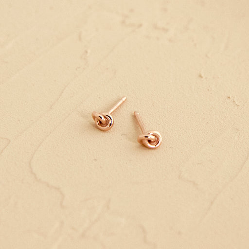 14k Rose Gold Dainty Knot Stud Earrings Handmade by Camillette