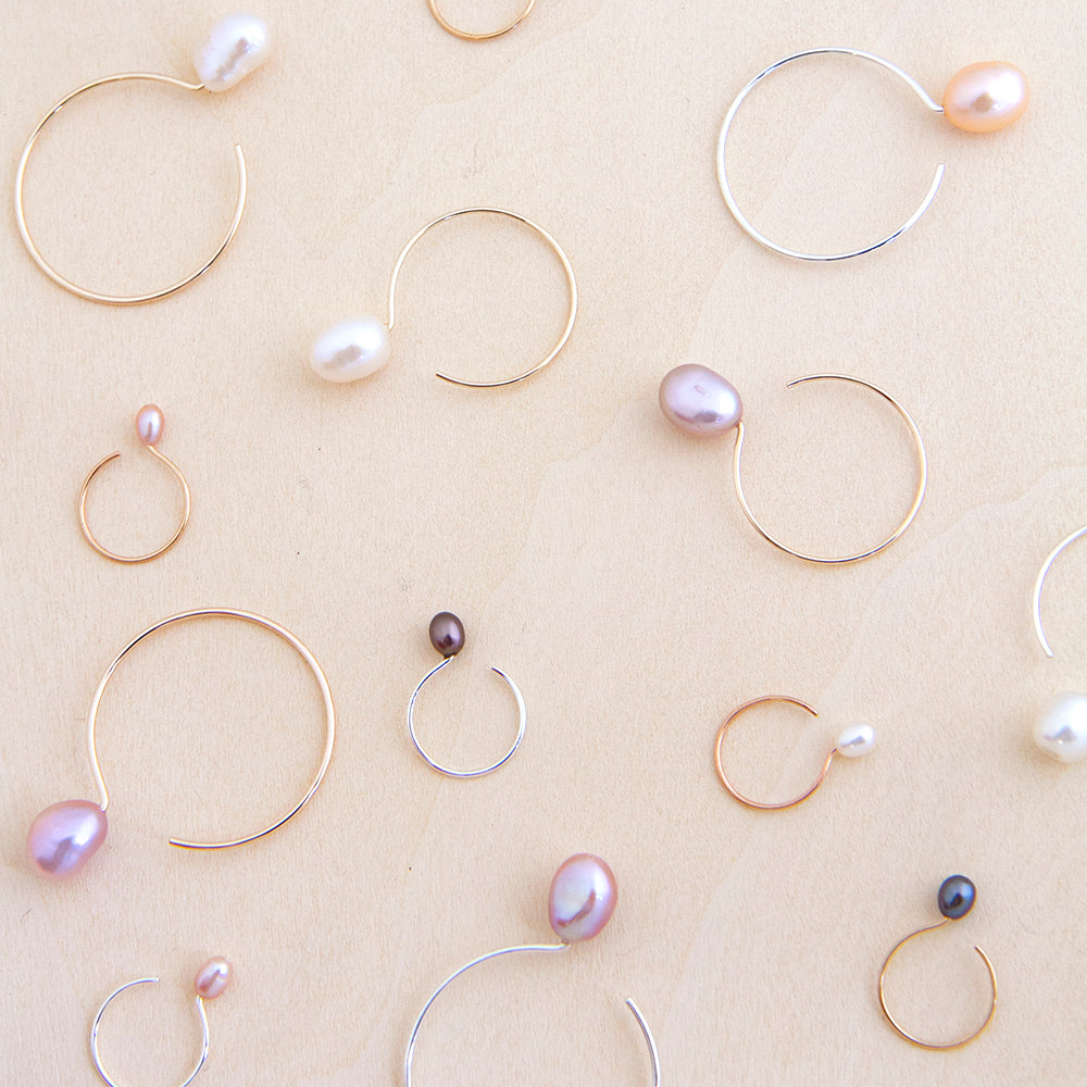 Freshwater Cultured Pearl Hoop Earrings in Silver and Gold Handmade in Canada