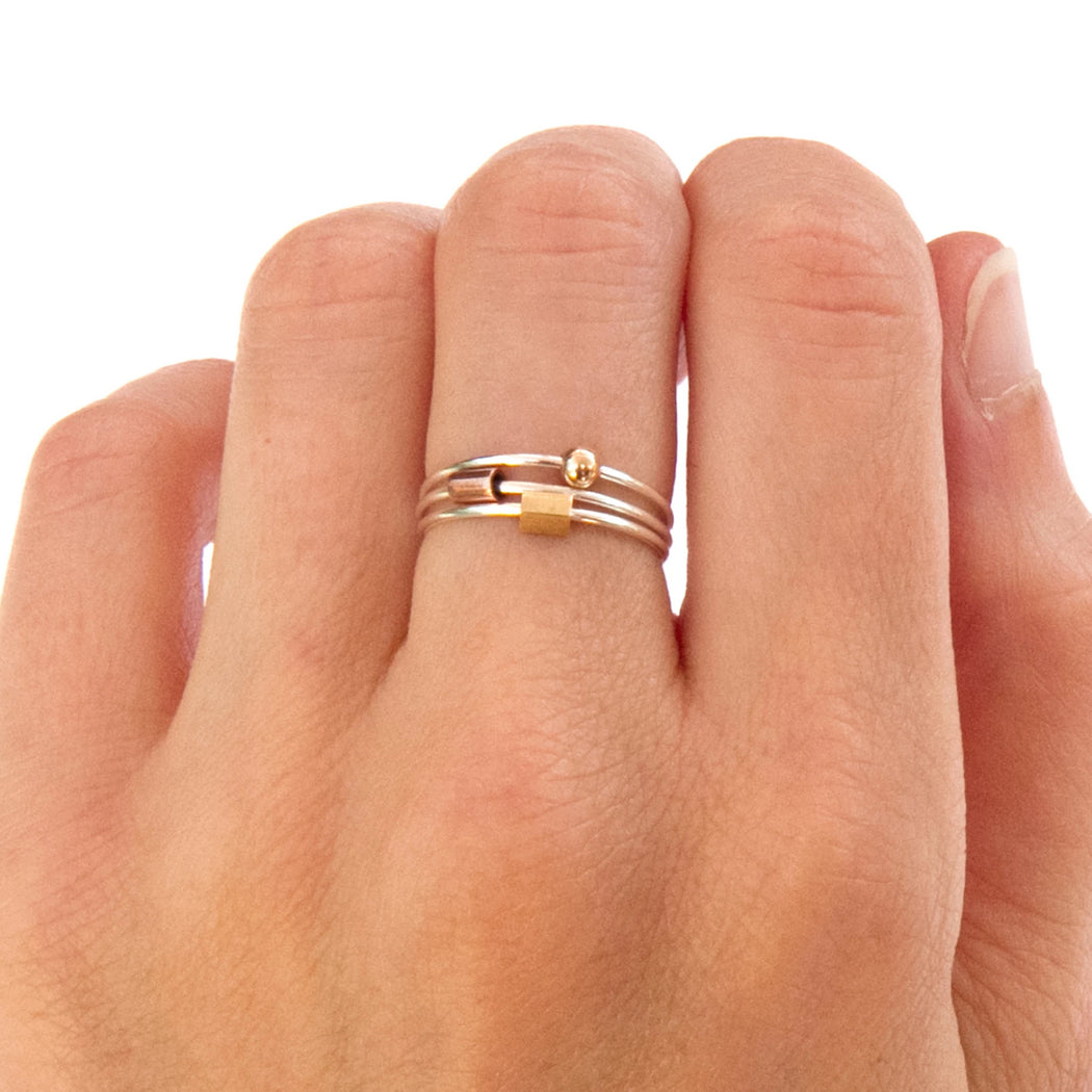 Stacking silver ring (set of 3) - Silver, brass and copper