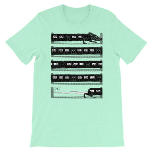 Rat Train by Jeff Prymowicz printed on Heather Mint Bella + Canvas Tshirt