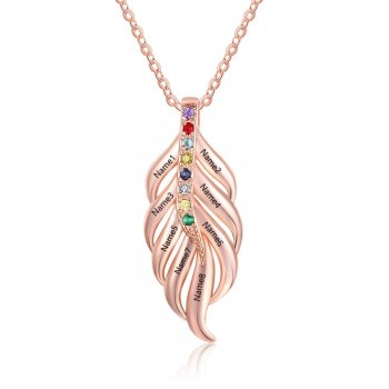 Rose Gold Plated Birthstone Leaf Personalised Pendant Necklace