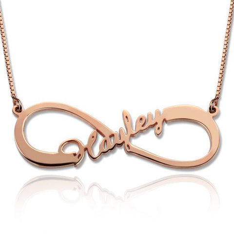 Rose Gold Single Name Infinity Symbol Personalised Necklace