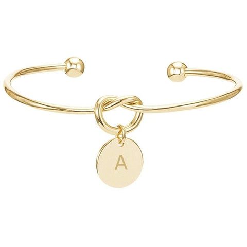 Personalised Initial Letter Disc Pendant Bracelet In Gold