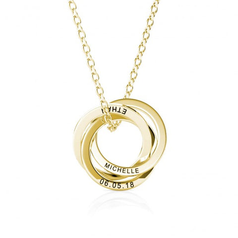 18ct Gold Plated Russian Ring Engraved 3 Loop Disc Necklace
