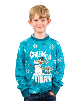 Official DC Comics 'Chillin like a villian' Kids Ugly Christmas Sweater