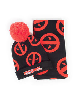 Official Deadpool Symbol Beanie & Scarf Gift Set