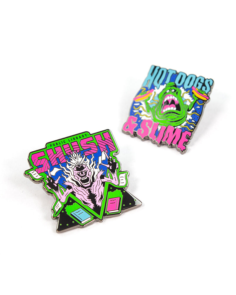 Pin Kings Ghostbusters Enamel Pin Badge Set 1.2 - Shush and Hotdogs & Slime