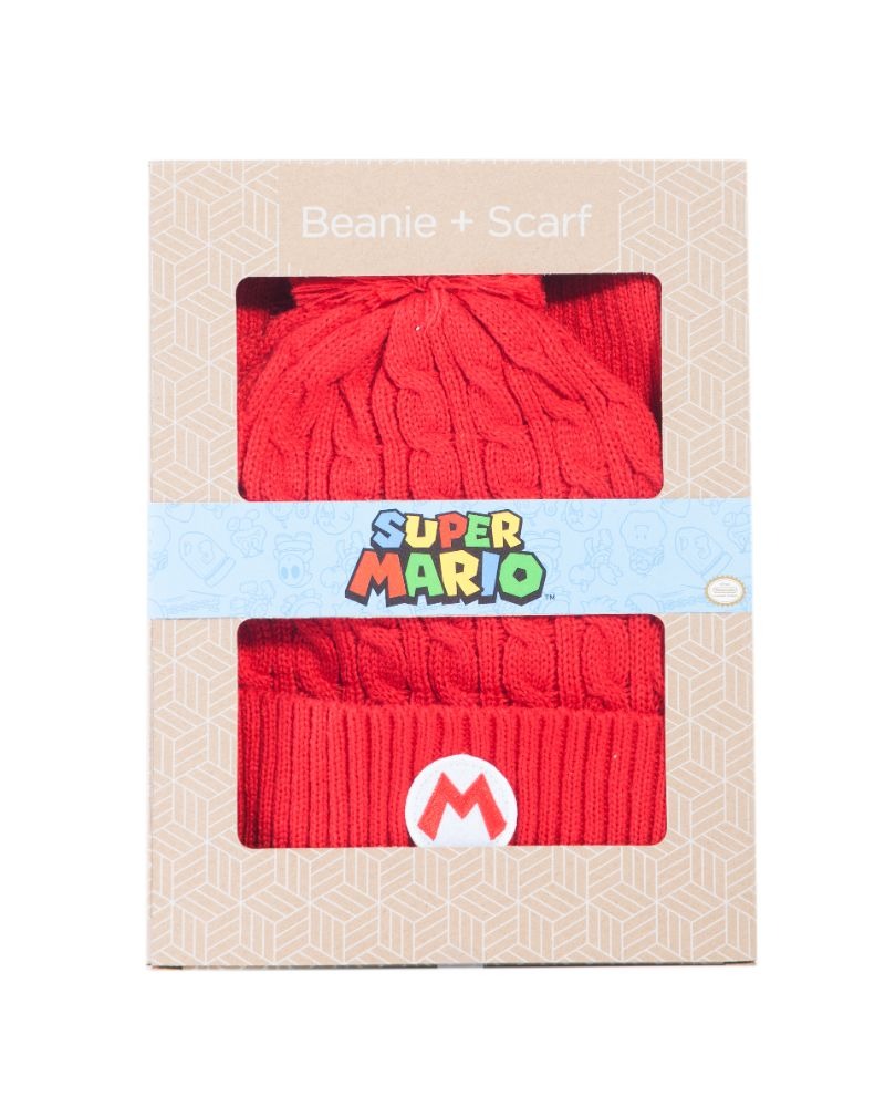 Official Nintendo Super Mario Badge Beanie & Scarf Gift Set