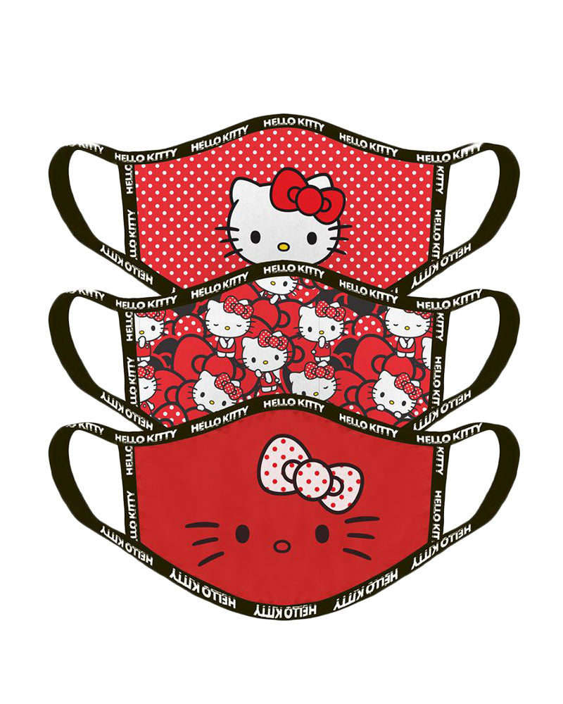 Official Hello Kitty Red Face Masks / Face Coverings (3 Pack)