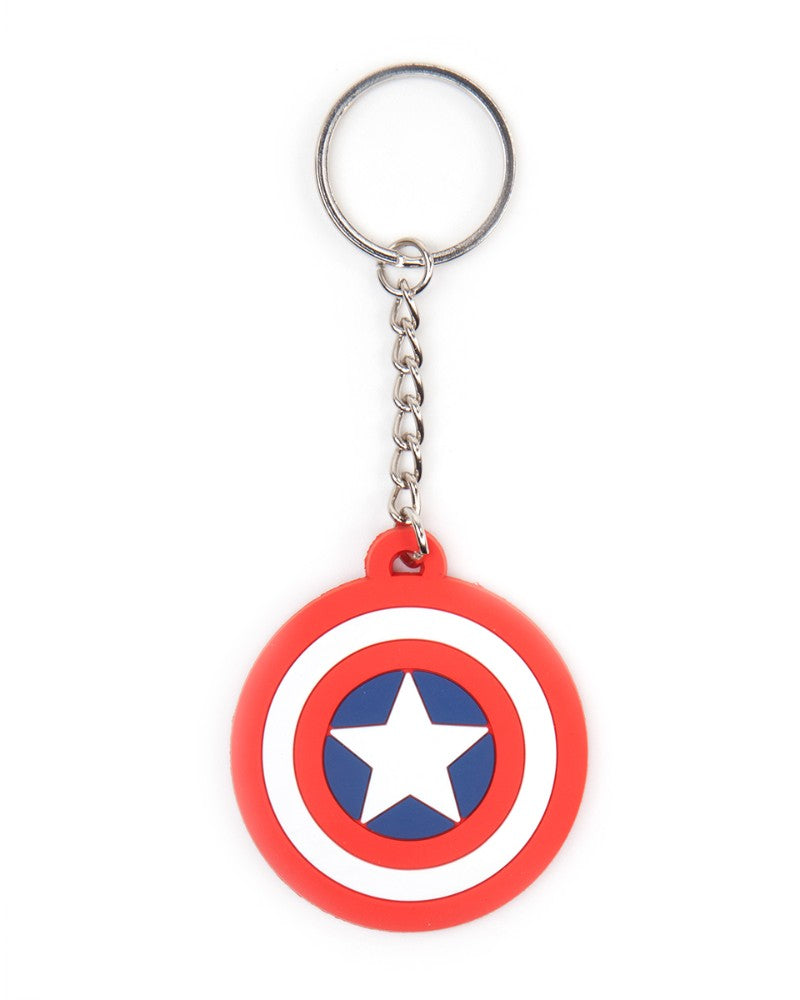 Official Marvel Captain America Shield Logo Rubber Keyring / Keychain