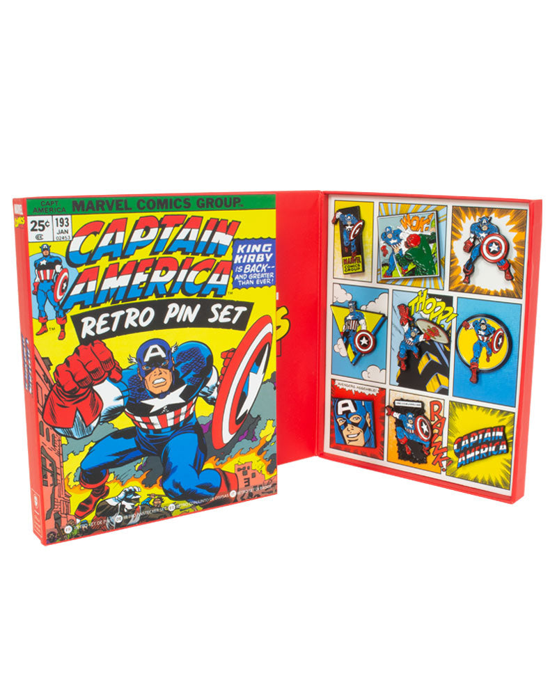 Official Marvel Captain America Retro Pin Badge Set
