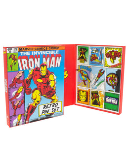 Official Marvel Avengers Iron Man Retro Pin Badge Set