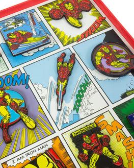 Official Marvel Iron Man Retro Pin Badge Set