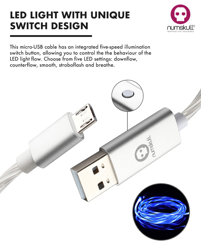 Numskull LED Flow Micro USB Charge Cable for PS4 / Xbox One