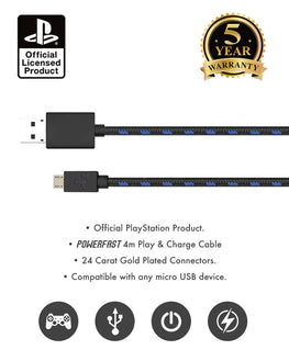 Official Sony PlayStation 4 PS4 4m Charge and Play Charging Cable