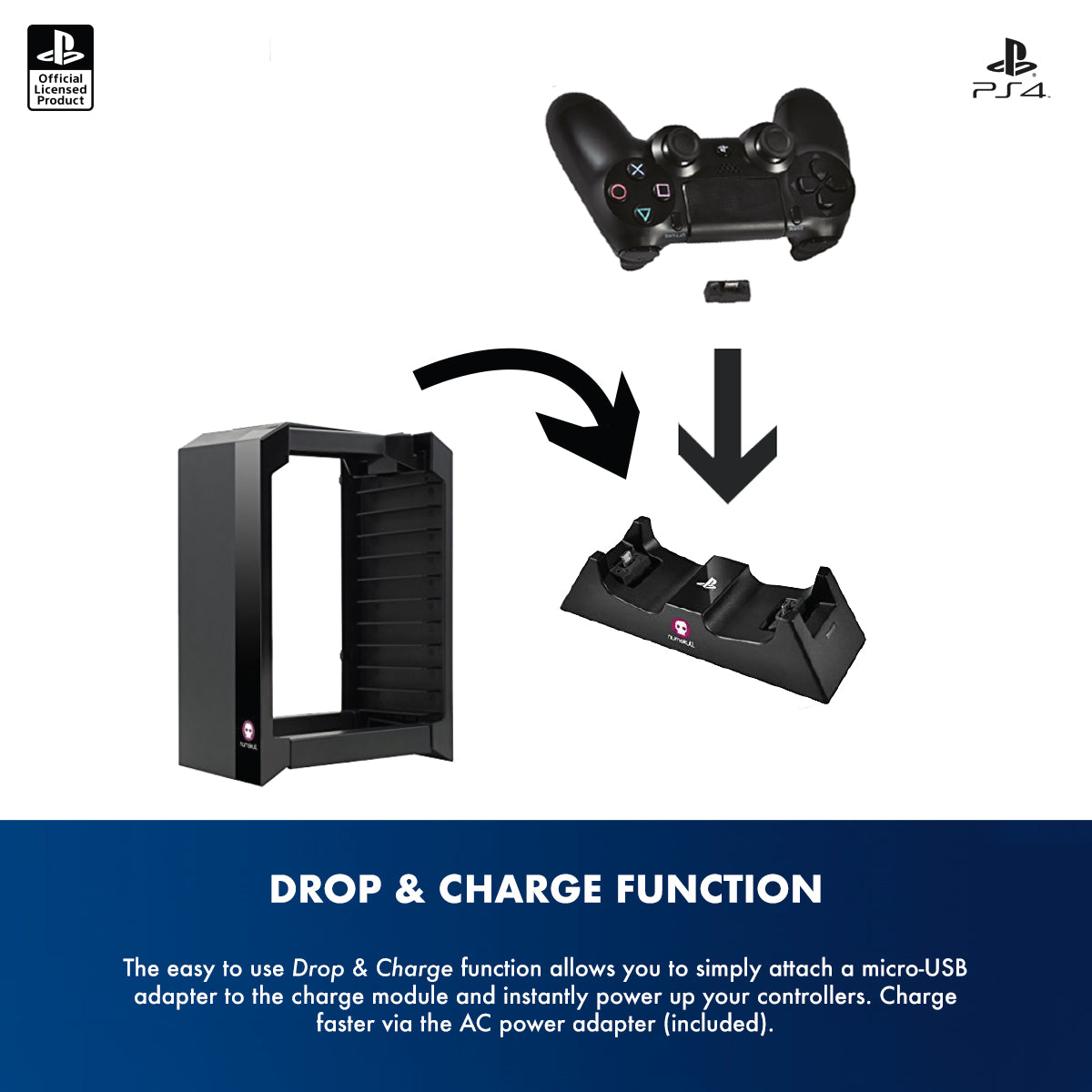 Official Sony PlayStation 4 PS4 Games Storage Tower + Dual Charger