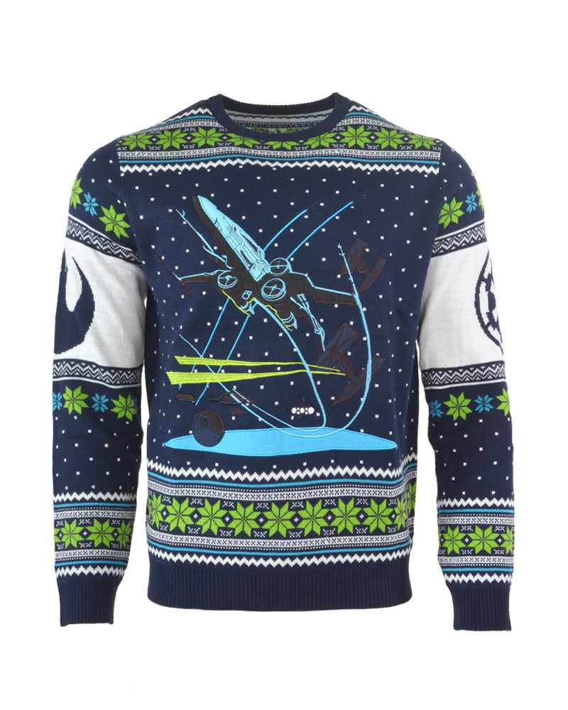 official star wars x wing battle of yavin ugly christmas sweater - Ugly Christmas Sweater Star Wars