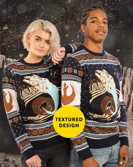 Official Star Wars Millennium Falcon Space Slug Escape Ugly Christmas Sweater