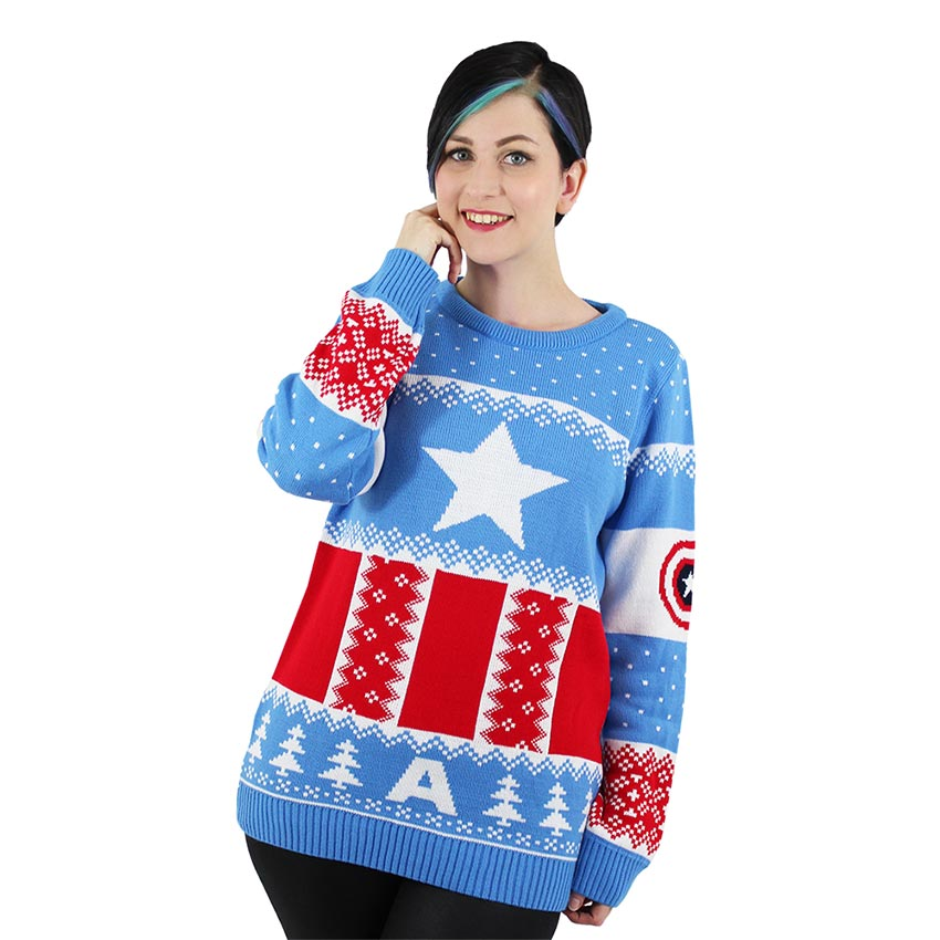 Official Marvel Captain America Christmas Jumper / Ugly Sweater