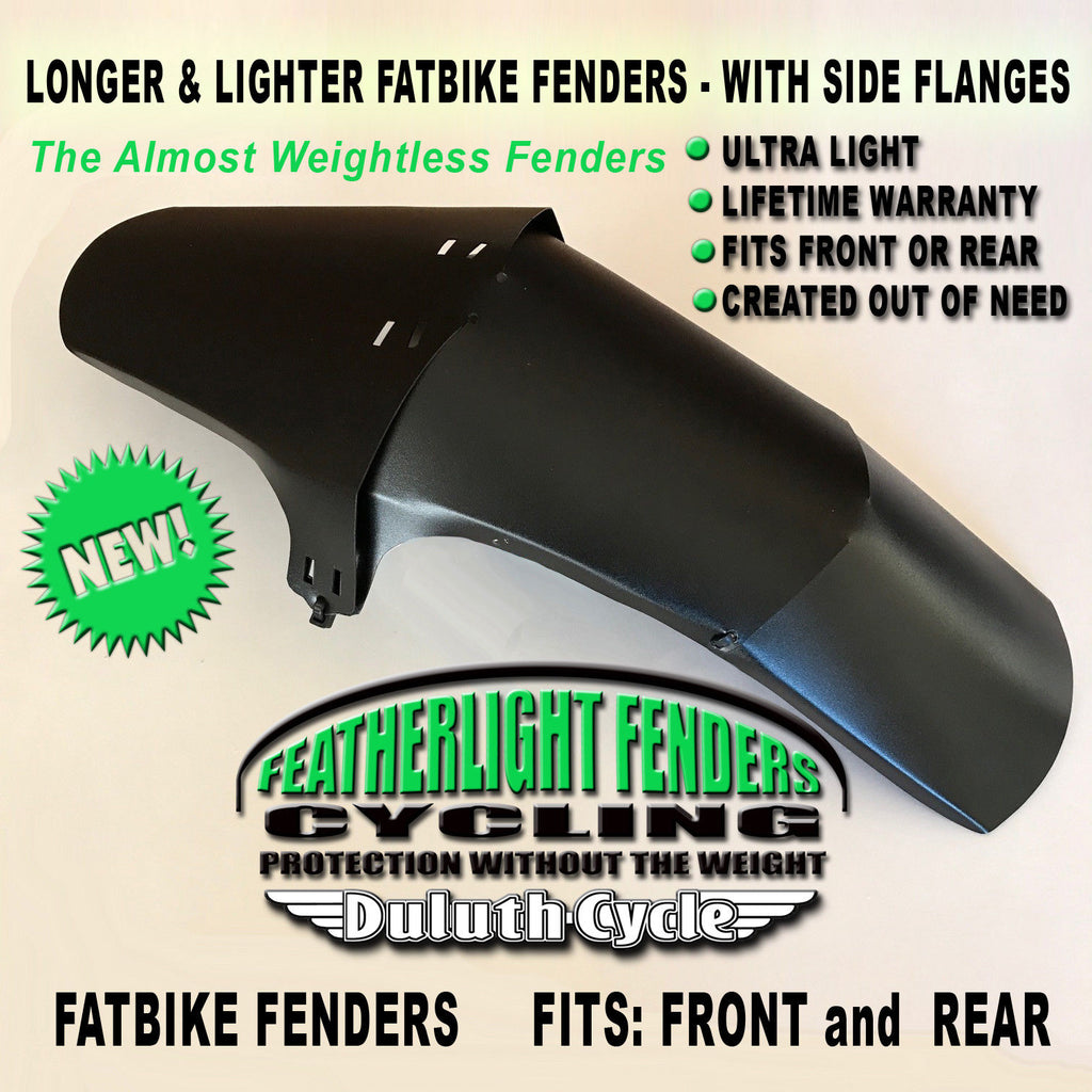 Longer Quick Install FeatherLight Fat Bike Fenders Mudguard Front /& Rear
