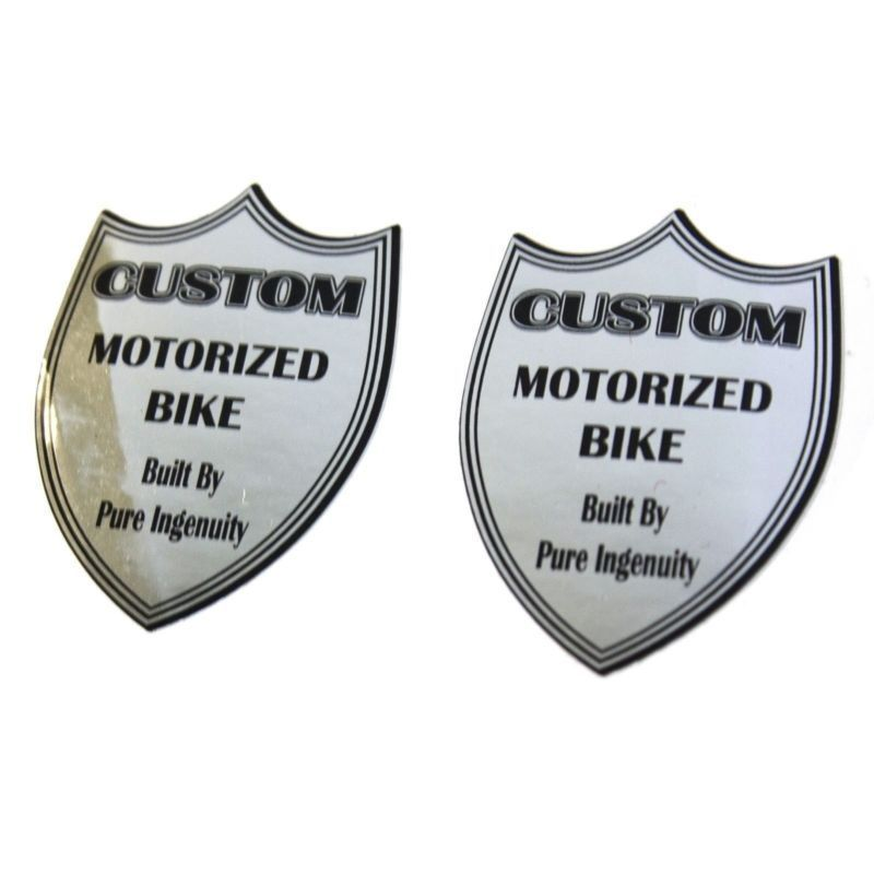 Motorized Lowrider Bicycle Head Badge Decals Kit for 49cc 66cc 80cc Bikes