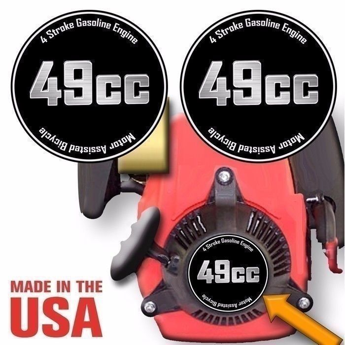 49cc, 4 Stroke Motorized Bicycle Engine Decals