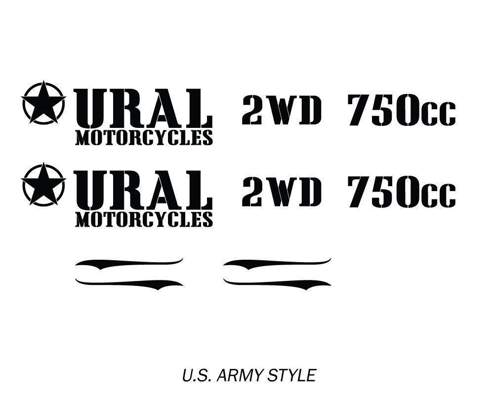 Ural US Army Style Motorcycle Gas Tank & Body Decals