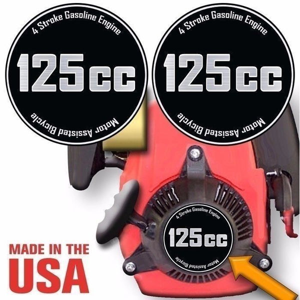 125cc,4 Stroke Motorized Bicycle Engine Decals Graphic Detail Kit Emblem
