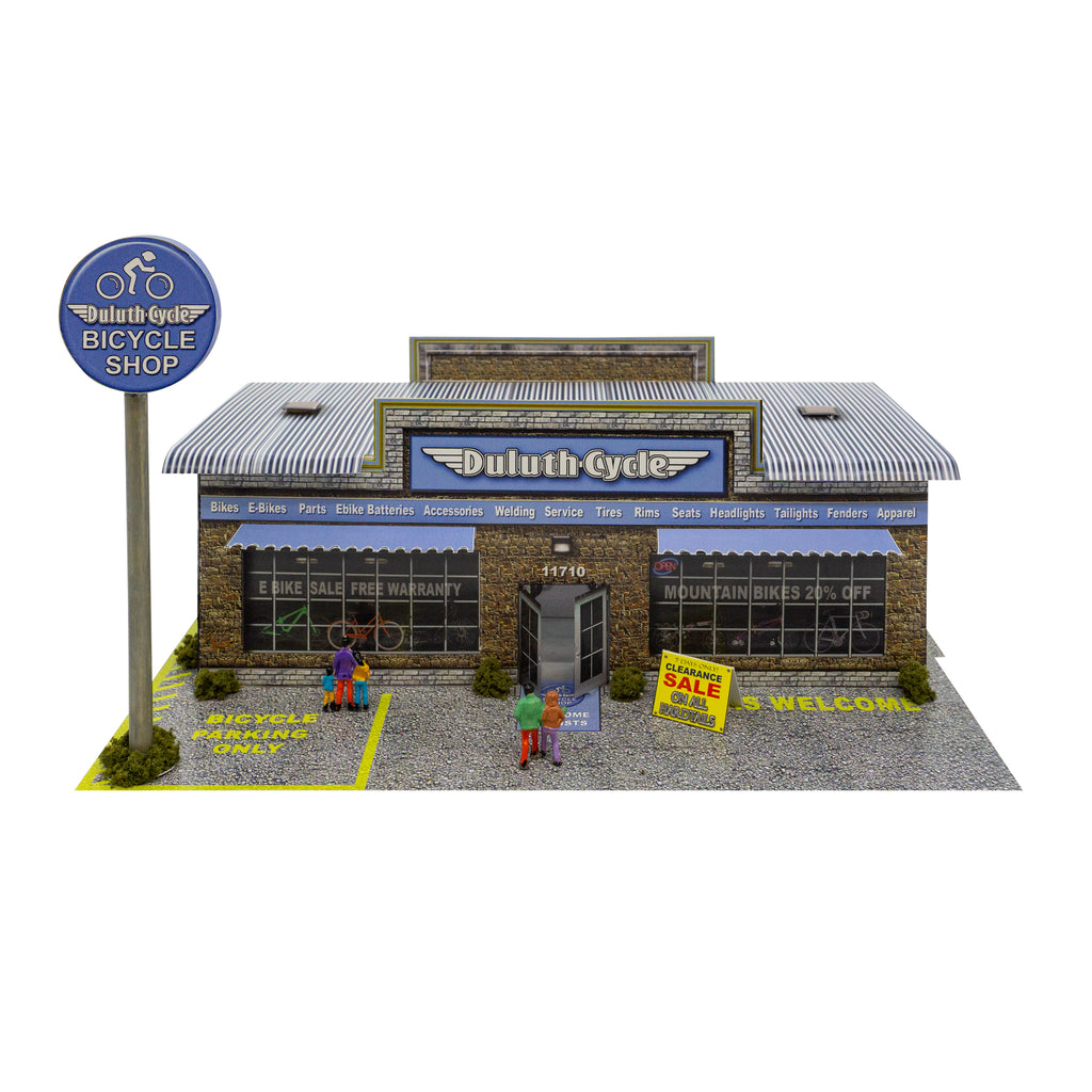 1:64 Scale Duluth Cycle Bicycle Shop Building Kit