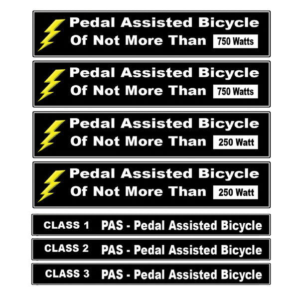 Pedal Assisted eBike Decal Kit Fits Pedal Assist Electric Bikes 250 - 750 Watts