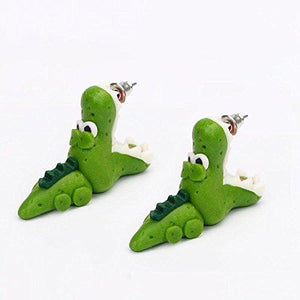 1 Pair 3D Clay Earrings Fashion Kawaii Soft Pottery Green Alligator Earrings Fashion Simple Handmade Polymer Animal Stud Earrings for Girls Women
