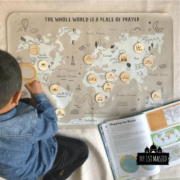 Masjid World Map-Home Decor-My 1st Masjid-Crescent Moon Store