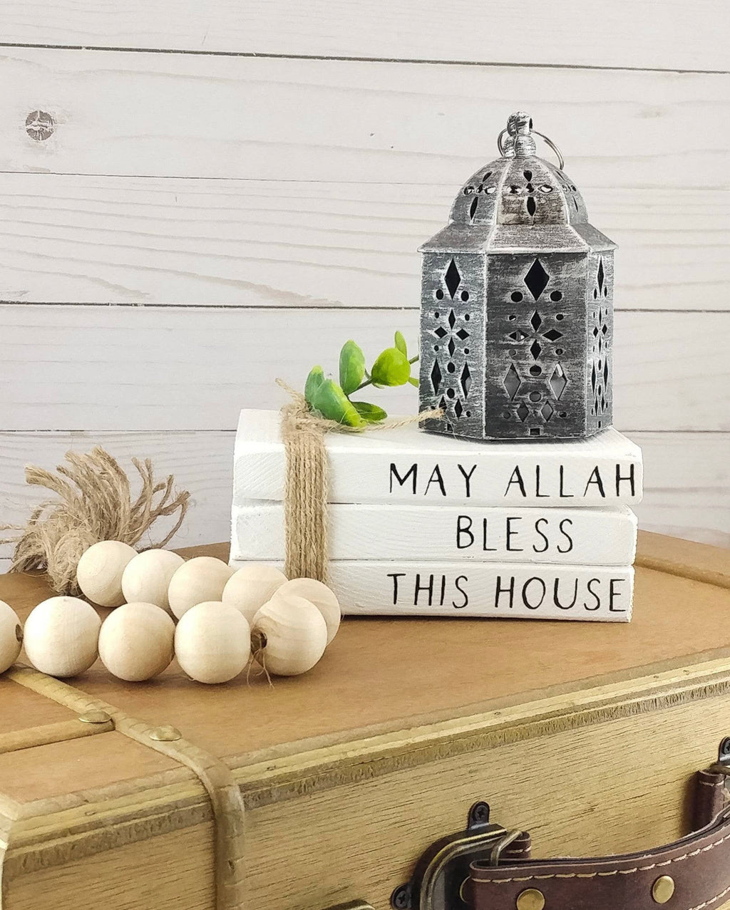 May Allah Bless This House - Stacked Books Decor-Crescent Moon Store-Stacked Books + Wood Beads-Crescent Moon Store