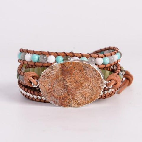 Lederen Wrap Armband Natural